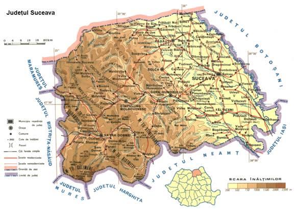 Harta reliefului in Sv